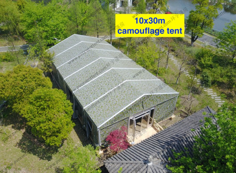 Camouflage Cover Instant Installation and Movable Clear Span Tents with Glass Door for Outdoor Event in Scenic Area
